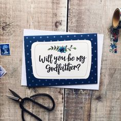 Will You Be My Godfather? Card by Izzy & Pop, the perfect gift for Explore more unique gifts in our curated marketplace. Polka Dot Background, The Godfather, Card Designs, Classic White, White Envelopes, Hand Drawn, Unique Gifts, How To Draw Hands, Polka Dots