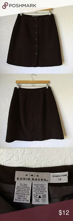 AKA Eddie Bauer Dark Brown Button Skirt This deep brown knee-length skirt will be the perfect thing to wear this fall and winter! SO SOFT IT'S NOT EVEN FUNNY!!! Eddie Bauer Skirts Midi