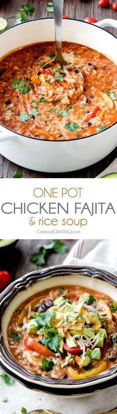 ONE POT Pepper Jack Chicken Fajita and Rice Soup is packed with your favorite fajita flavors and is SO easy, delicious and comforting! My whole family LOVES this soup!