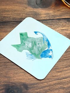 Coaster with custom full color watercolor by The Inviting Pear Wedding Cocktail Napkins, Custom Wedding Invitations, Personalized Stationery, Pear, Coasters, Cocktails, Branding, Graphic Design, Watercolor
