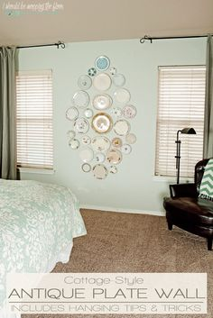Antique Plate Wall   Fun way to display plates with no wire hangers needed!