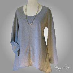 Shirt & Kette - Lagenlook - Tunika / Pullover / Longshirt & Kette Gr.44/46 grau