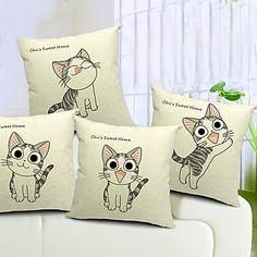Conjunto de 4 gatos adoráveis algodão / linho fronha decorativo – EUR € 49.99