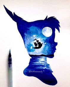 coolTop Disney Tattoo - #PeterPan Double Exposure. The print is up (link in bio).. I think I need to tak...