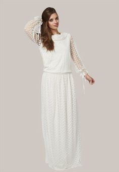 White dot long sleeve maxi dress coming soon to Mode-sty
