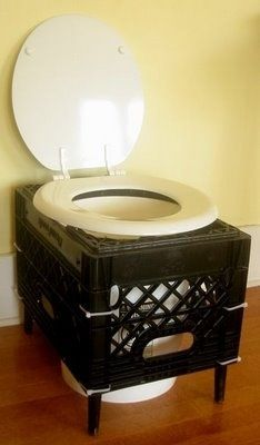 DIY Camping Toilet ~ A toilet seat, a bucket, a create, wooden legs & a few zip ties is all it takes to have a portable bathroom.