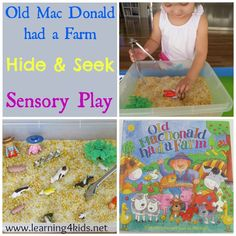 Old Mac Donald had a Farm Activity for kids and toddlers. Visit pinterest.com/arktherapeutic for more #sensoryplay ideas