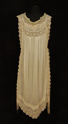 Circa 1910 Gown from Peignoir and Gown Set: sheer cream cotton with filet lace and embroidered with dragonflies and flowers.