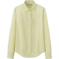 UNIQLO Cotton Lawn Check Long Sleeve Shirt ($13) ❤ liked on Polyvore featuring tops, green, print shirts, green top, shirt top, green long sleeve top and beige top