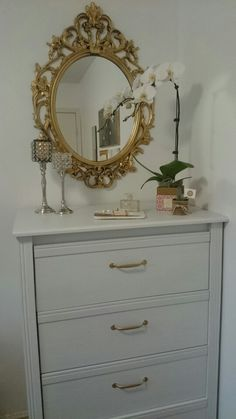 Black UNG Drill mirror $19.99CAD, gold spray painted along with the BRUSALI dresser and gold painted handles for a glamorous touch.