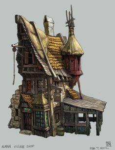 """Almain Village Shop"" Concept art for Kingdoms of Amalur - Sean Andrew Murray Fantasy Eyes, 3d Fantasy, Fantasy House, Fantasy Landscape, Medieval Fantasy, Fantasy World, Environment Concept Art, Environment Design, Prop Design"