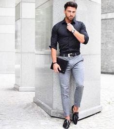 fitted men's black shirt and grey pants Fashion Mode, Fashion Night, Work Fashion, Urban Fashion, Trendy Fashion, Fashion Black, Mens Fashion Blog, Style Fashion, Mens Smart Fashion