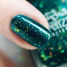 Frenzy Polish I See You (Color4Nails exclusive) teal and green glitter nails