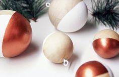 Bolas de madeira - Ideias decoração moderna Natal