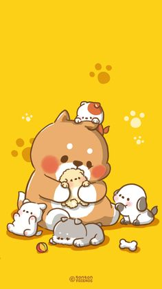 Dogs Cartoon Friends 34 Ideas For 2019 Cute Kawaii Drawings, Cute Animal Drawings, Kawaii Art, Cute Backgrounds, Wallpaper Fofos, Kawaii Background, Dibujos Cute, Cute Doodles, Kawaii Wallpaper