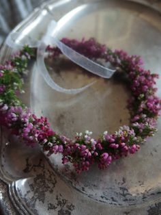 Heather garland for a flower girl at a Scottish Wedding