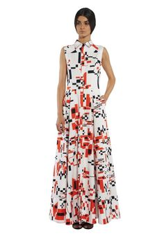 Cotton long dress on the buttons with collar and print flowers