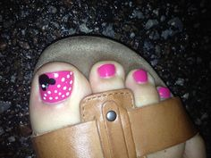 My Minnie Mouse Pedi for our Disney trip!!!