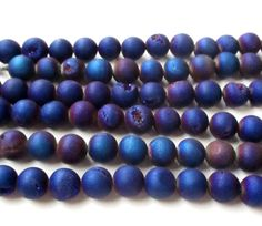 Metallic Navy Blue Purple Druzy Agate Beads Round by BijiBijoux