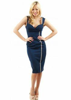 Olivia Navy & Beige Pencil Dress