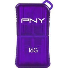 PNY - Micro Sleek Attaché 16GB USB Flash Drive - Purple - Larger Front