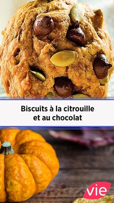 Biscuits à la citrouille et au chocolat Holistic Nutrition, Nutrition Plans, Banana Nutrition Facts, Biscuits, Pumpkin Recipes, Vegetable Recipes, Macarons, Entrees, Muffins