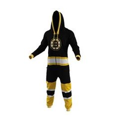 """Official Boston Bruins NHL Onesie. #BeCool this winter when you warm up in one of these hooded, full zip-up collectible garments. This officially licensed piece of fan apparel features a """"back door"""" opening, so you don't even need to remove it when nature calls."""