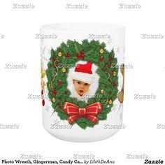 Photo Wreath, Gingerman, Candy Cain, Snowflakes Coffee Mug