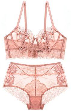 81e6c38227 Luxury Lace Bra Set Embroidery Transparent Bra Briefs Set Sexy Ultra Thin  Underwire Women Bras High Waist Lingerie Set