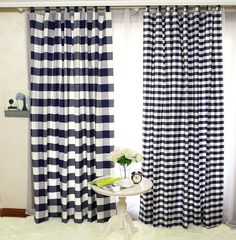 Modern Country Style Cloth Curtian Dark Blue Plaid Shade Cloth Curtains Thicken COTTON&LINEN Curtain For Living Room Bedroom