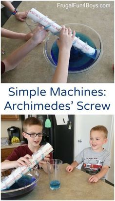 Simple Machines Science Lesson: Lift Water with An Archimedes' Screw. Fun science experiment for kids, shows how a screw works to lift something Stem Science, Preschool Science, Elementary Science, Science Experiments Kids, Physical Science, Science Fair, Science Lessons, Teaching Science, Science Education