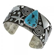 Sterling Silver Navajo Kingman Turquoise Bear And Dragonfly Cuff Bracelet…