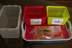 """A container of water, two containers (one marked """"floats"""" and the other """"sinks""""), and an assortment of items for the experiment  How it's Do..."""