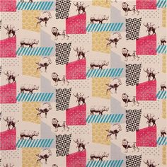 natural-colored echino zon canvas laminate fabric pattern safari animals Japan