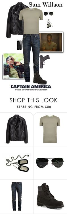 """Sam Wilson/ The Falcon  - Captain America: The Winter Soldier"" by gone-girl ❤ liked on Polyvore featuring H&M, STONE ISLAND, Ray-Ban, Yves Saint Laurent, Timberland, men's fashion and menswear"