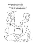 Mother Goose Nursery Rhymes coloring pages -Jack and Jill Coloring Page Nursery Rhyme Crafts, Nursery Rhymes Lyrics, Nursery Rhymes Preschool, Nursery Rhyme Theme, Nursery Songs, Nursery Activities, Rhyming Preschool, Rhyming Activities, Preschool Kindergarten