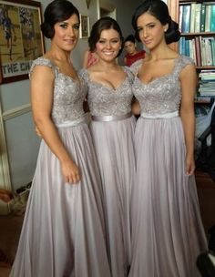 Chiffon Floor Length Lace Bridesmaid Dresses pst0230 on Storenvy