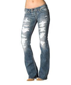 Light Denim Tuesday Torn Bootcut Jeans by Silver & Co. #zulily #zulilyfinds
