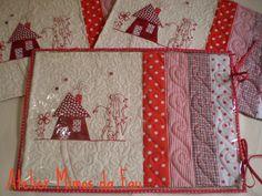 Bildergebnis für placemat with redwork and patchwork