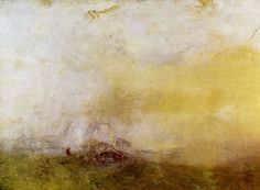 JOSEPH MALLORD WILLIAM TURNER .   Sunrise With Sea Monsters . Circa 1845 . Oil on canvas | Although this unfinished painting has come to be known as Sunrise With Sea Monsters, the obscure pink shape at the lower centre of the canvas probably depicts fish; indeed a red and white float and part of a net can be seen nearby . . The subject of fishing was of interest to Turner throughout his career, as were remarkable sunsets and sunrises such as the dawn depicted here . .
