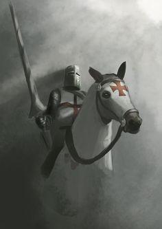 Knights Templar on their heroic crusade for Western civilization! Knights Hospitaller, Knights Templar, Crusader Knight, Christian Warrior, High Middle Ages, Armadura Medieval, Knight In Shining Armor, Armor Of God, Medieval Knight