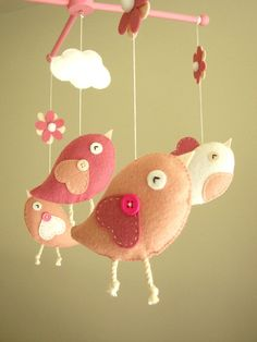 Baby crib mobile Bird mobile felt mobile nursery by Feltnjoy