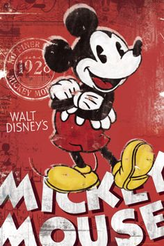 Mickey Mouse - Retro Red Framed Poster Art Print Disney by Generic… Walt Disney Mickey Mouse, Mickey Mouse Art, Mickey Mouse Wallpaper, Vintage Mickey Mouse, Mickey Mouse And Friends, Disney Fun, Disney Wallpaper, Iphone Wallpaper, Cartoon Posters