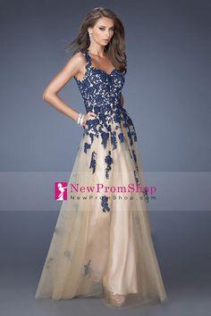 2014 Correias Open Back até o chão Tulle Prom Dress Lace corpete com Applique