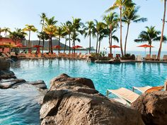 """The Sheraton Waikiki is a playground for all ages: there's the infinity pool for adults and the Helumoa pool complex for kids, with two freshwater pools, an enormous water slide and an interactive fountain area. By both pools, you'll find some of the best kid-friendly hotel restaurants in Oahu. Hapas Pizza does great """"keiki"""" sized dishes, while kids 6-12 eat half price at Kai Market (kids under 5 eat free)."""