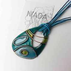 bb82902efec8 Green and blue cloisonne jewelry set green necklace Cobre