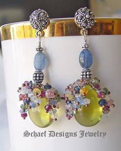 Smooth lemon topaz briolette crowned with multi colored sapphires on hand linked kyanite & sterling silver earrings | Schaef Designs online artisan handcrafted upscale gemstone & pearl jewelry gallery boutique | San Diego, CA