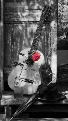 rosauniversblog — for @williecoyote….. Music Love, Music Is Life, Acoustic Guitar, Guitar Art, Color Splash, Color Pop, Guitar Photography, Color Photography, Fondo Fashion