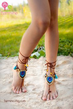 Barefoot Sandals Tribal Peacock Czech Beads Crochet Foot Jewelry Hippie Festival Wear Yoga Beach Boho Anklet Destination wedding shoes Barefoot Sandals Tribal Peacock Czech Beads Crochet by barmine Converse Wedding Shoes, Wedge Wedding Shoes, Barefoot Girls, Barefoot Beach, Barefoot Running, Hippie Festival, Festival Wear, Crochet Barefoot Sandals, Designer Wedding Shoes