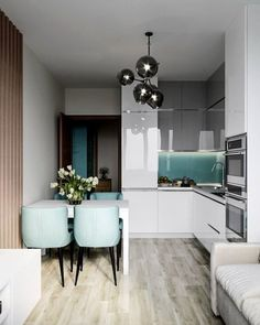 Kitchen Room Design, New Kitchen Designs, Modern Kitchen Design, Home Decor Kitchen, Modern Interior Design, Interior Design Living Room, Small Apartment Interior, Apartment Design, Küchen Design